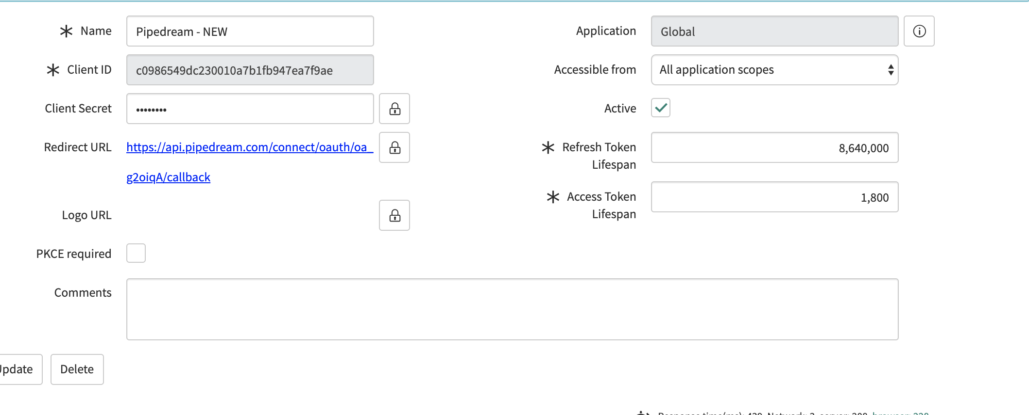 ServiceNow OAuth app config