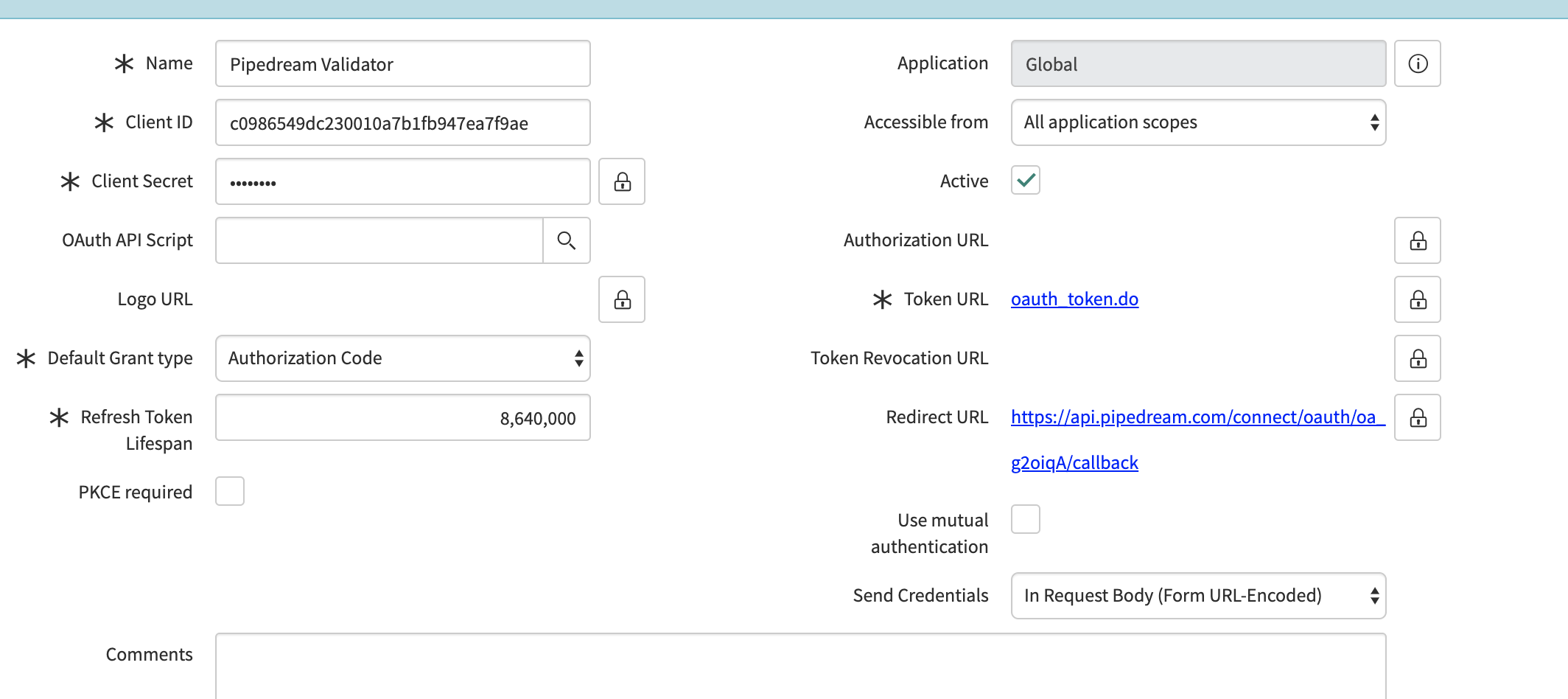 ServiceNow OAuth validator app config