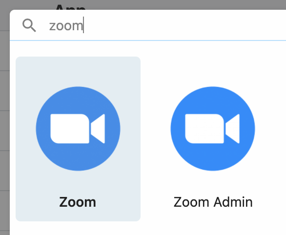 Zoom and Zoom Admin apps in Connect an App Modal