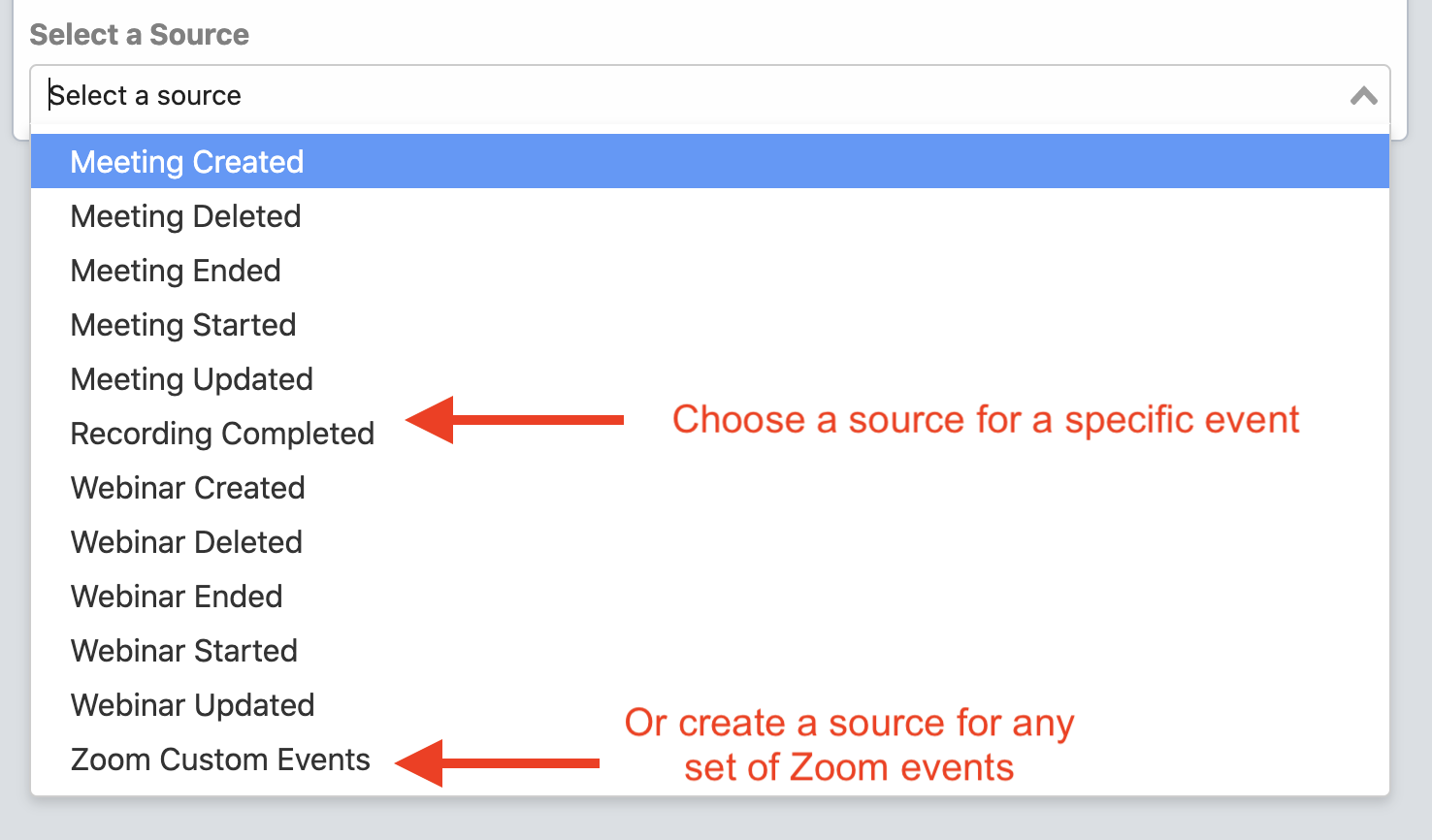 List of Zoom event sources
